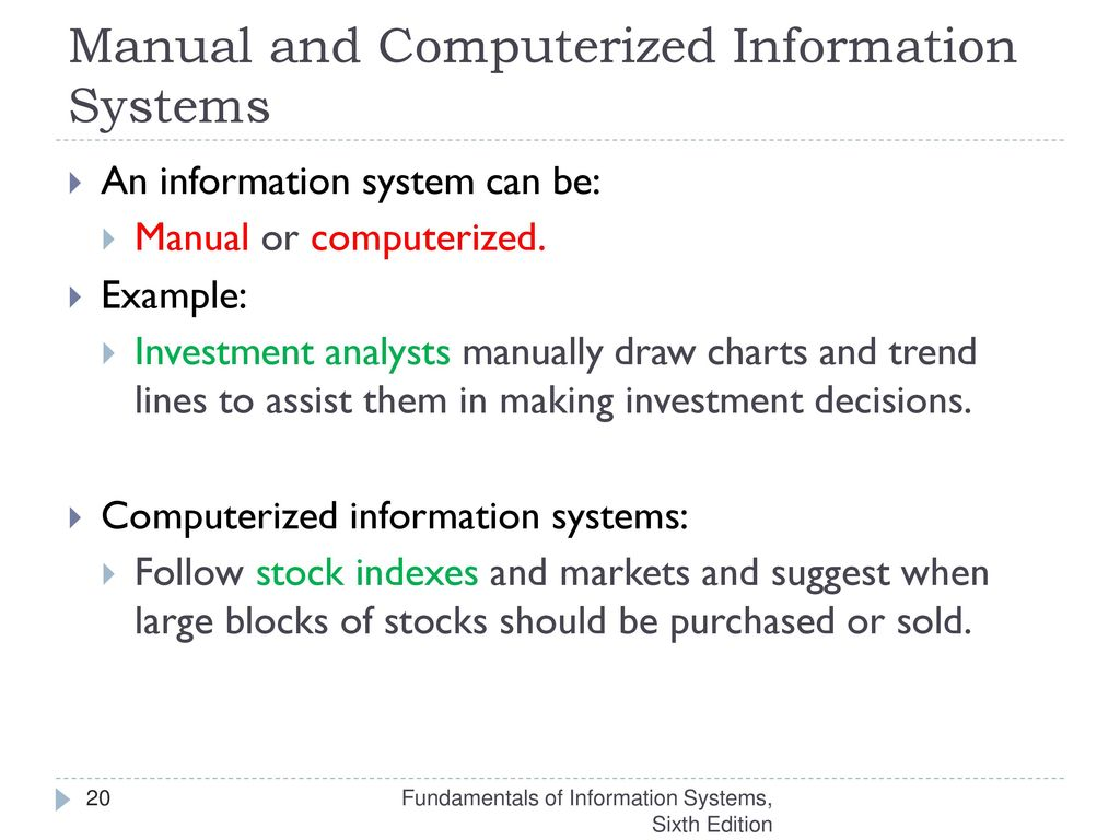 20 Manual and Computerized Information Systems