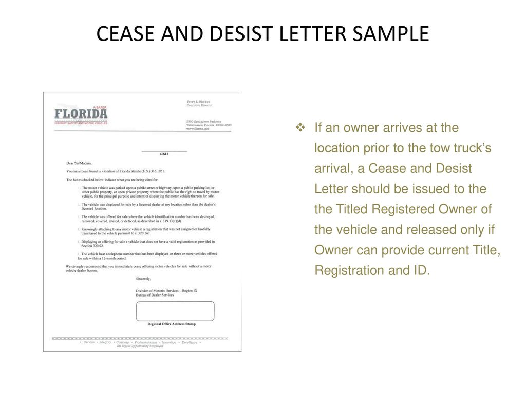 Cease And Desist Letter Florida from slideplayer.com