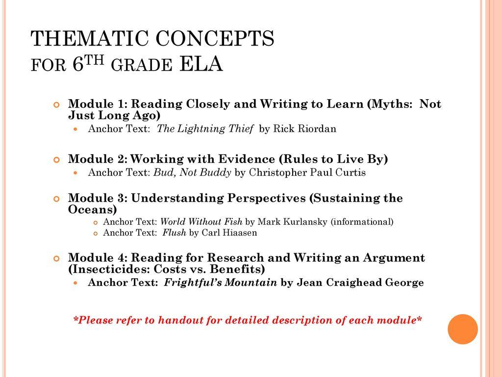 Welcome parents 6th grade language arts team titans ppt download thematic concepts for 6th grade ela publicscrutiny Images