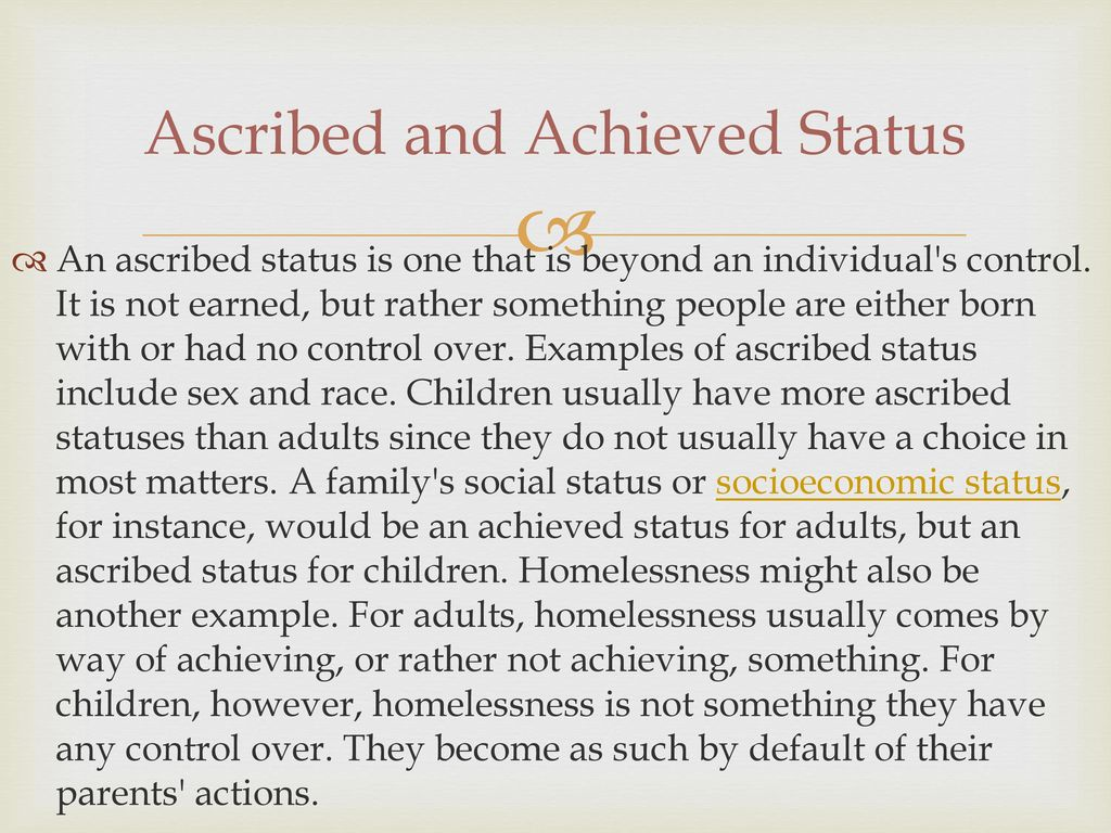 ascribed and achieved status examples
