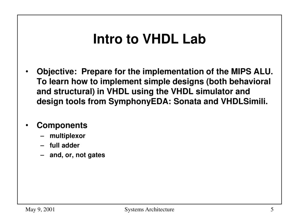 Systems Architecture Lab: Introduction to VHDL - ppt download
