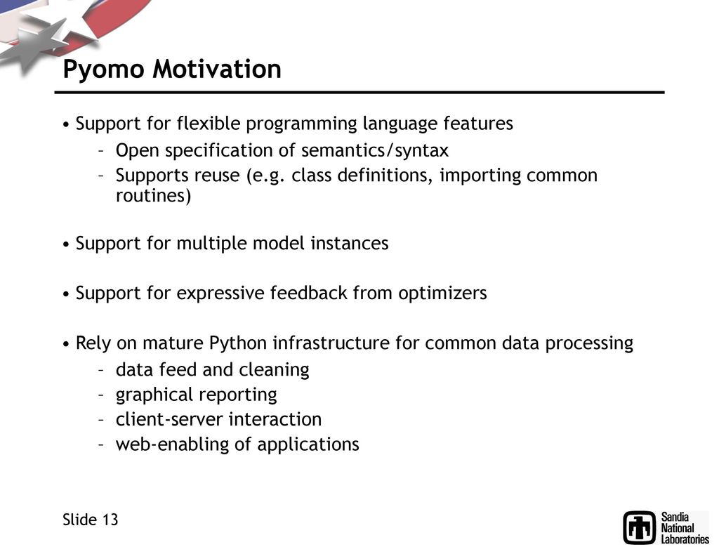 Coopr: A Python Repository for Optimization - ppt download