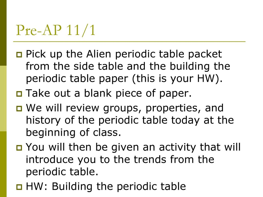 Pre Ap 11 1 Pick Up The Alien Periodic Table Packet From The