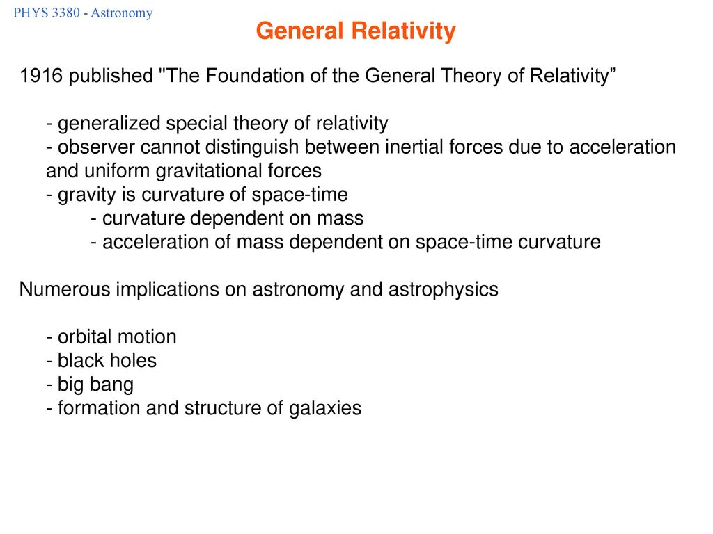 PHYS Astronomy General Relativity published The Foundation of the General Theory of Relativity