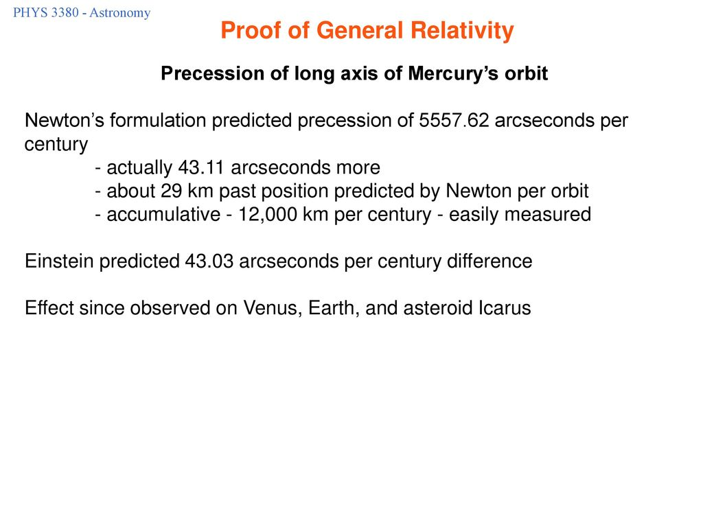 Proof of General Relativity Precession of long axis of Mercury's orbit