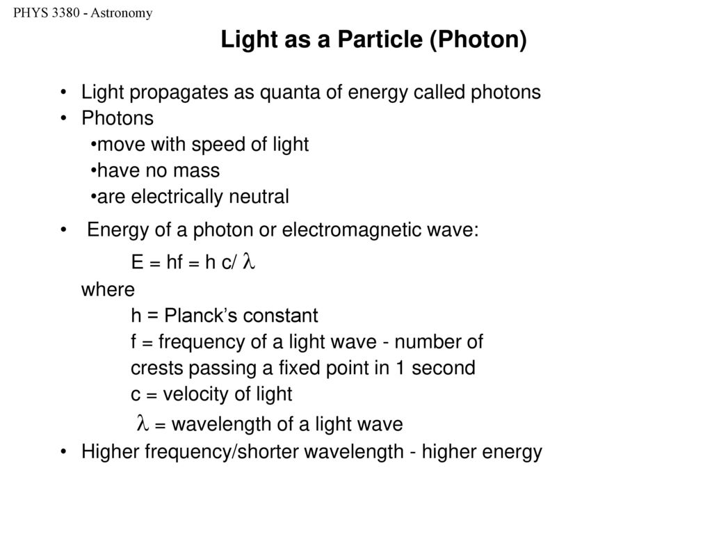Light as a Particle (Photon)