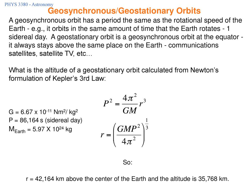 Geosynchronous/Geostationary Orbits