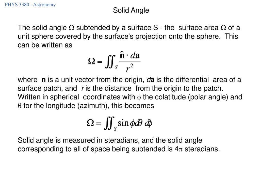 PHYS Astronomy Solid Angle.