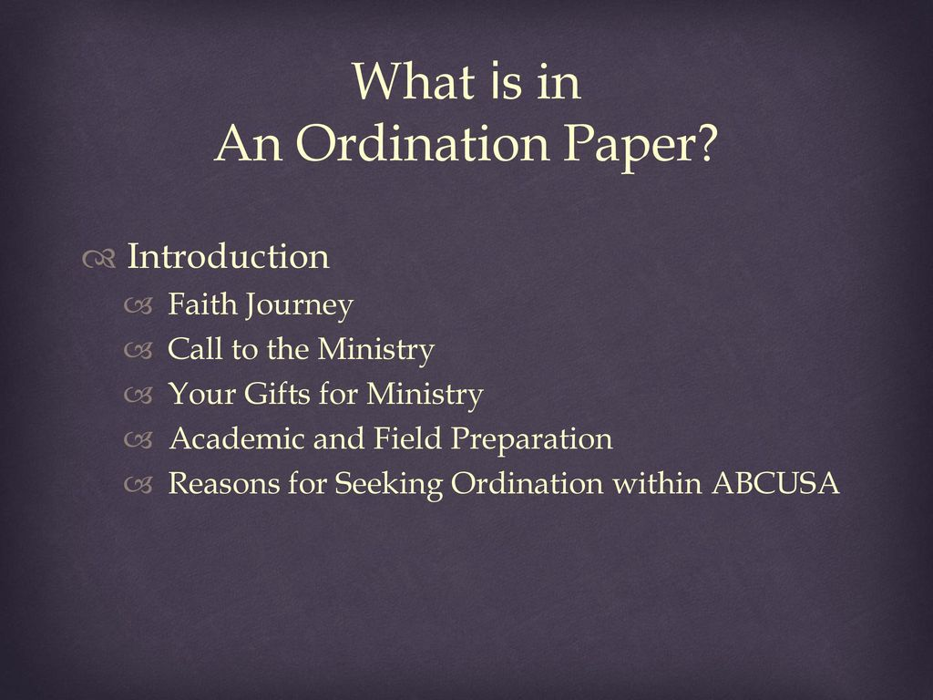 call to ministry paper