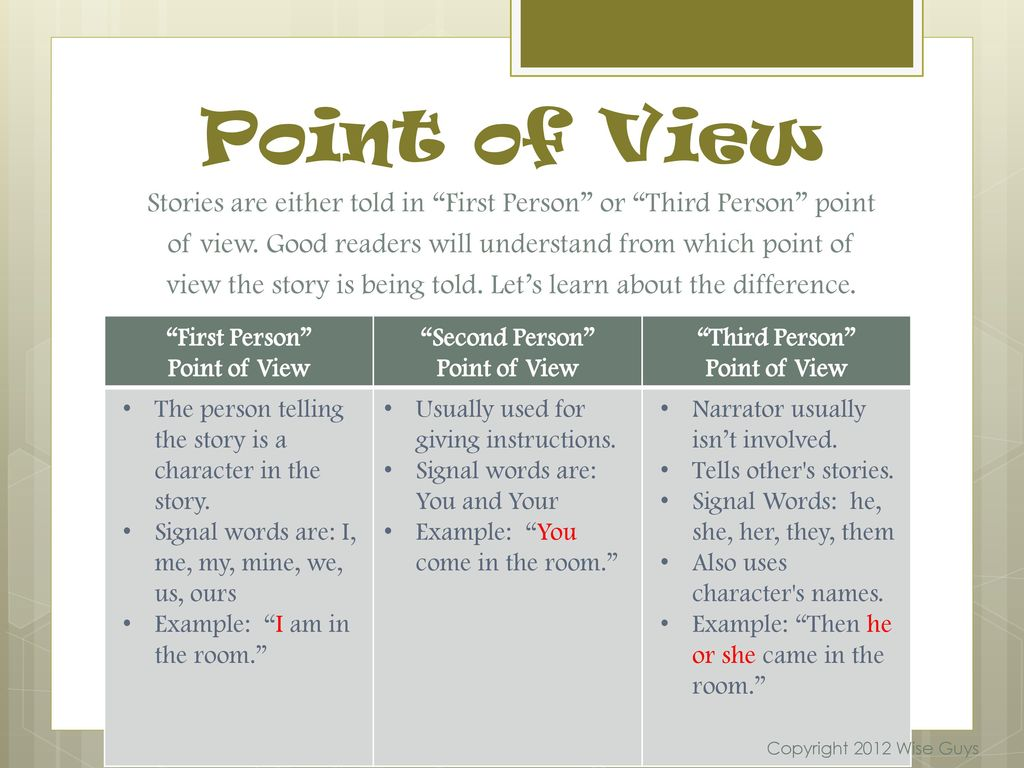third person point of view example words