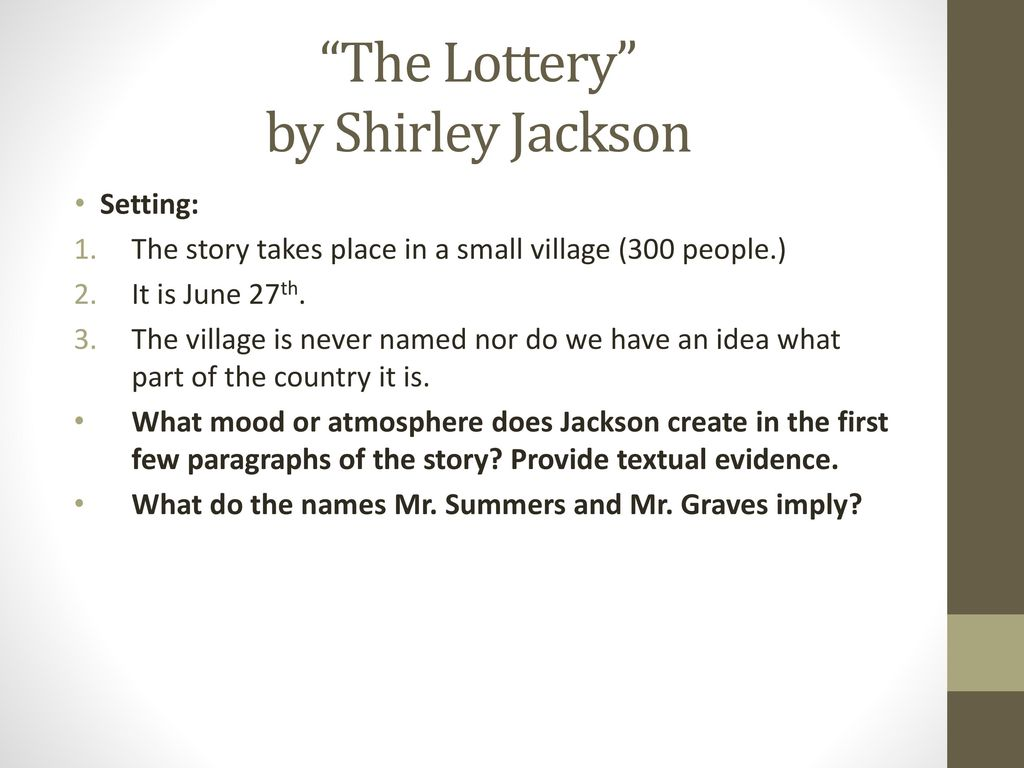 characterization in the lottery by shirley jackson