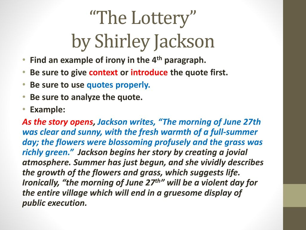 Symbolism and Irony in The Lottery Literature Essay Sample