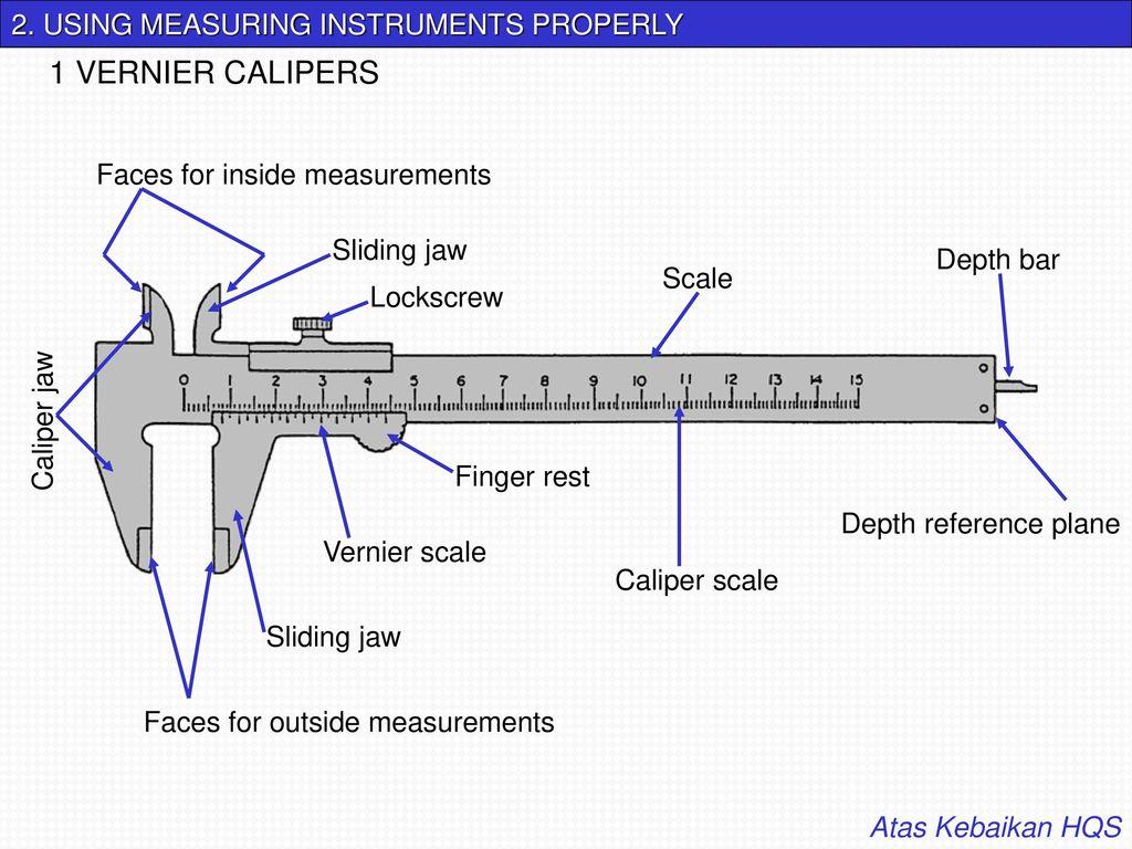 1 Vernier Calipers 2 Using Measuring Instruments Properly Ppt Caliper Diagram