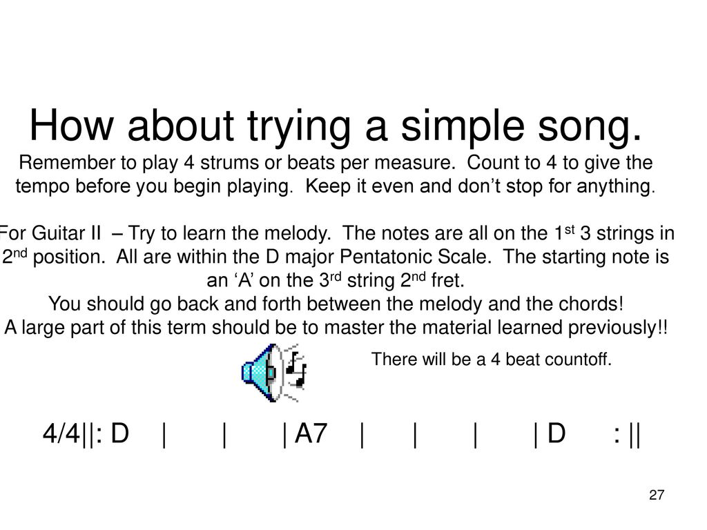 Guitar I And Ii Spring Ppt Download The Chord Symble A7 Above A Bar It Means We Have To Play 27 How