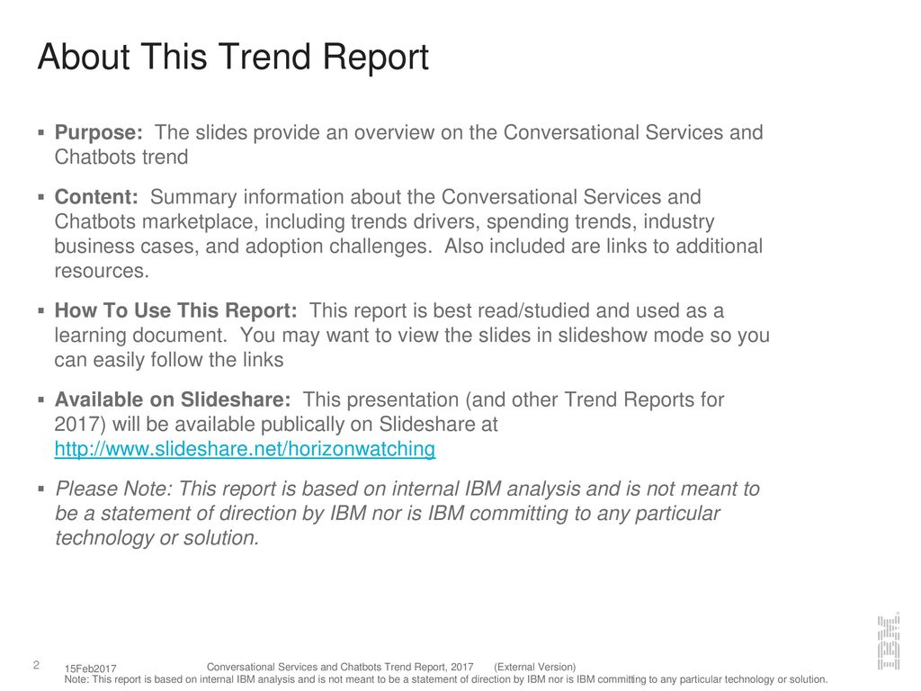 Conversational Services and Chatbots Trend Report, ppt download