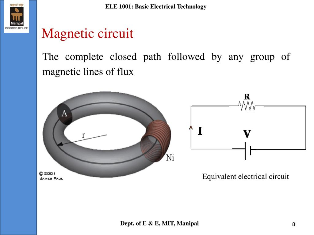 L 7 Magnetic Circuits Ele 1001 Basic Electrical Technology Ppt Complete Circuit