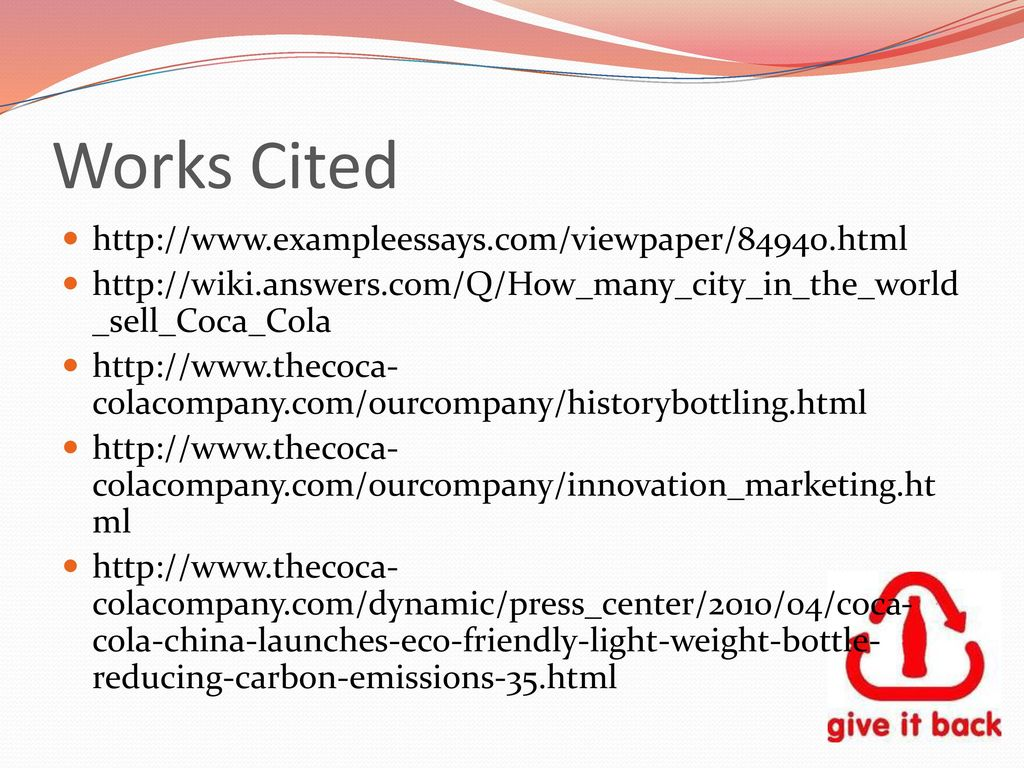 Essay Thesis Examples  Works Cited Httpwwwexampleessayscomviewpaperhtml A Healthy Mind In A Healthy Body Essay also What Is An Essay Thesis Coca Cola And Our Global Environment  Ppt Download Example Of An Essay Proposal