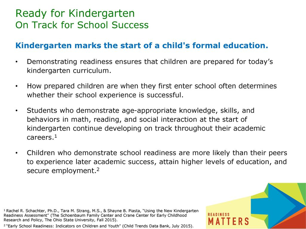 Ready for Kindergarten On Track for School Success