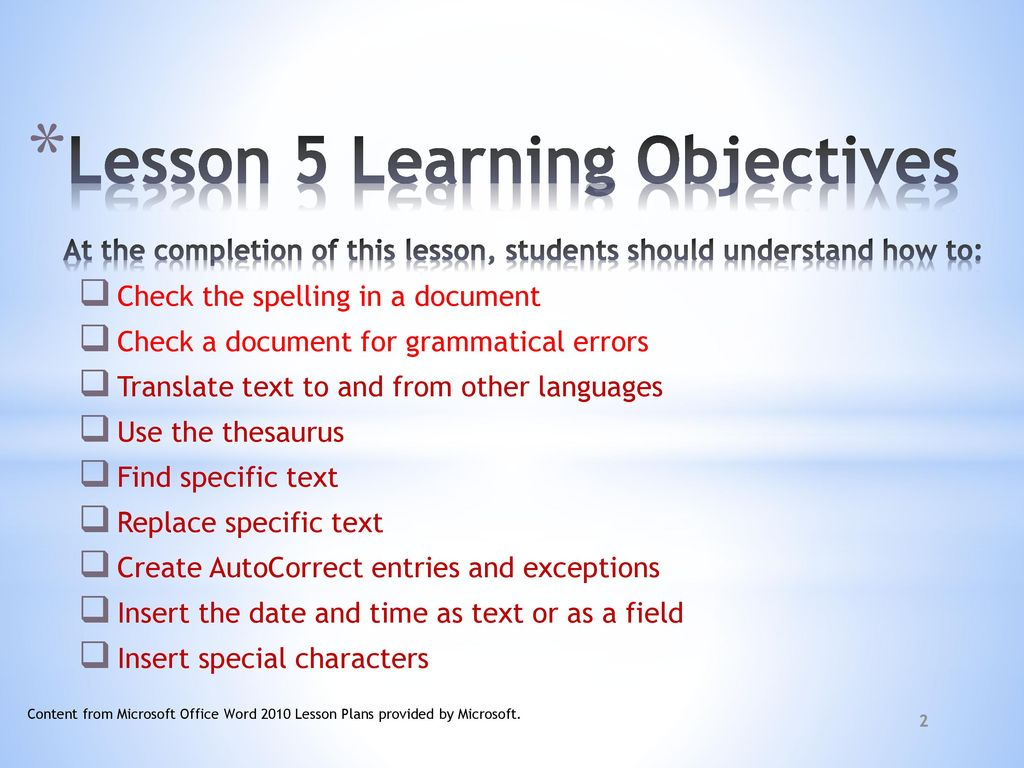 microsoft word 2010 prepared 2 20 11 objectives ppt download