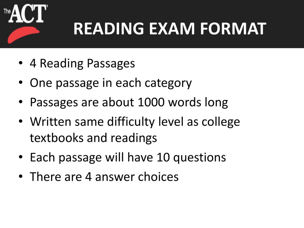 Reading 35 Minutes 40 Questions 4 Passages Ppt Download