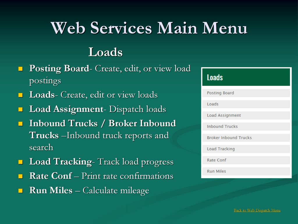 Back to Web Dispatch Menu - ppt download