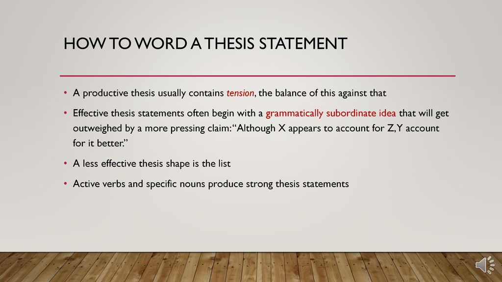 how to word a thesis
