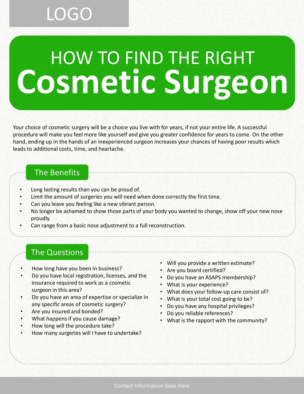 Cosmetic Surgeon LOGO HOW TO FIND THE RIGHT The Benefits The
