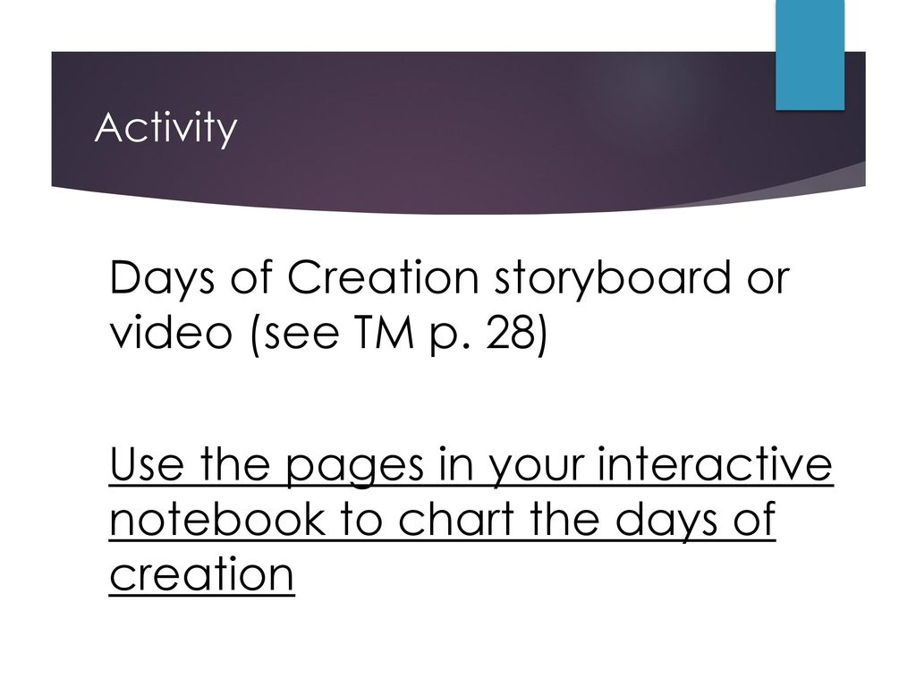 9 Days Of Creation Storyboard Or