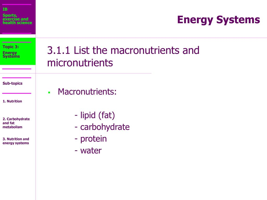 3.1.1 List the macronutrients and micronutrients - ppt download