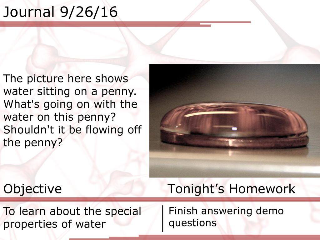 Journal 9 26 16 Objective Tonights Homework