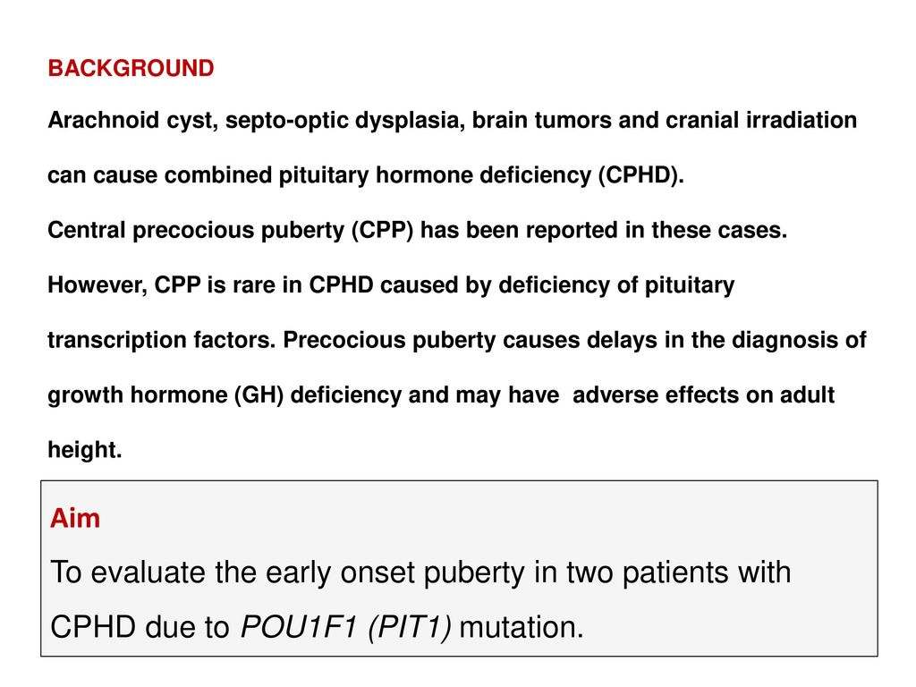 Precocious or early puberty in patients with - ppt download