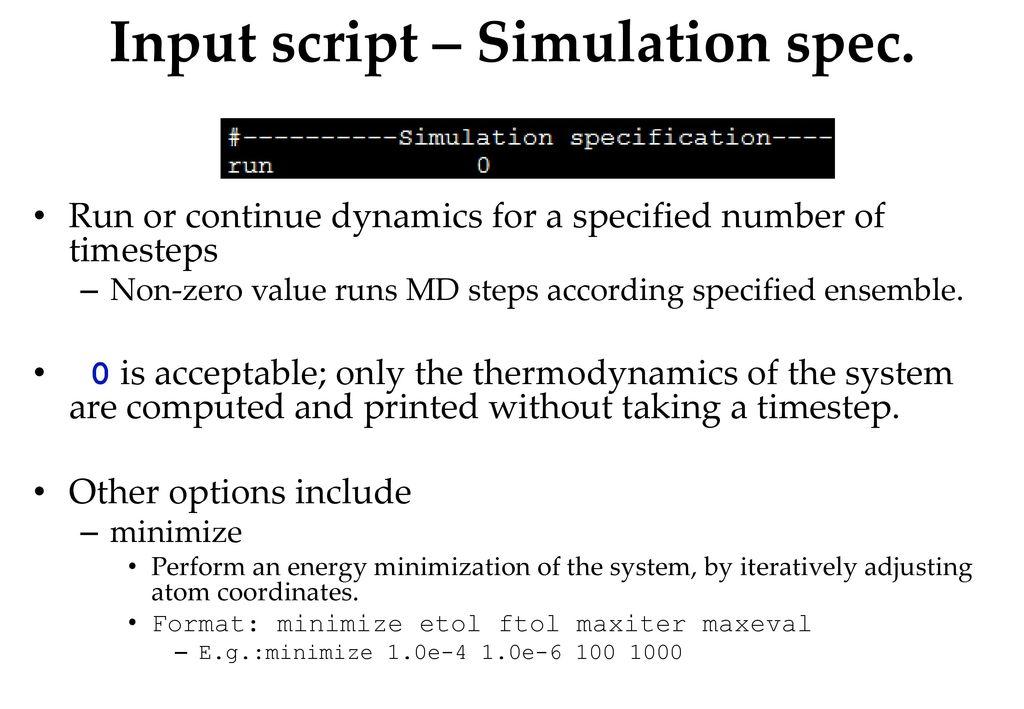 Lammps Minimize Example