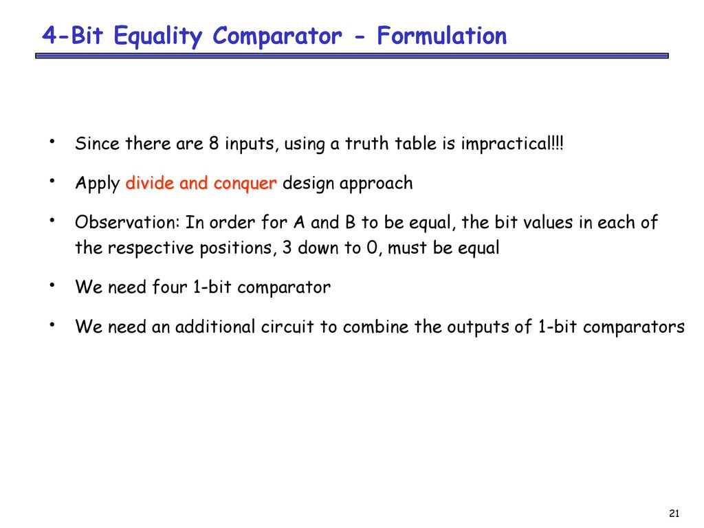Combinational Logic Designanalysis Ppt Download Design A 4 Bit Comparator Circuit Is And 21