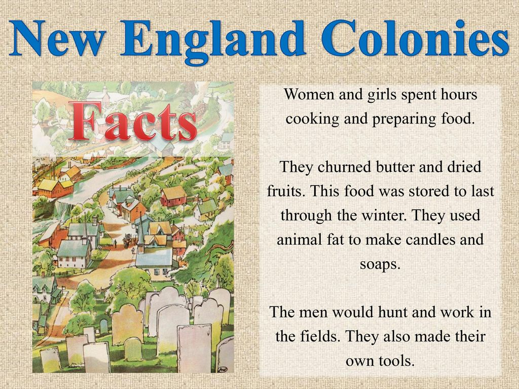 New England Colonies Food Facts