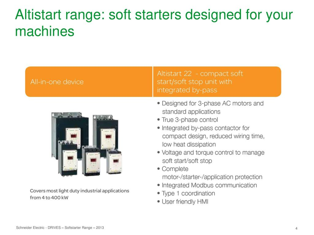 Reduce Mechanical Stress On Your Machines Ppt Download Ats22 Wiring Diagram 4 Altistart Range Soft Starters Designed For