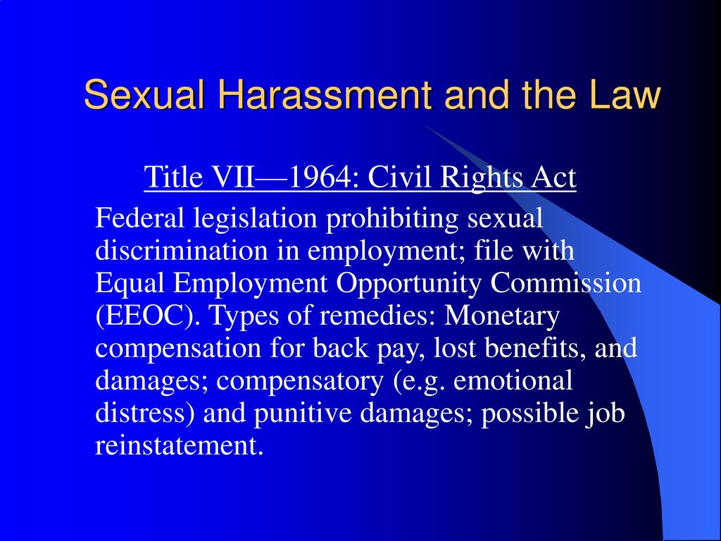 Pecuniary damages eeoc sexual harassment