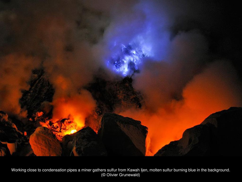 Miners in hellish conditions extract sulfur in the crater of a volcano 16