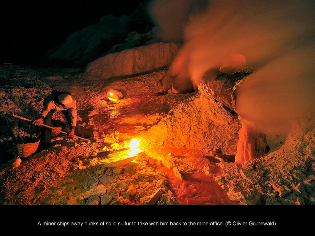 Miners in hellish conditions extract sulfur in the crater of a volcano 54
