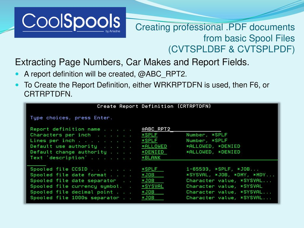 Creating Professional Pdf Documents From Basic Spool Files