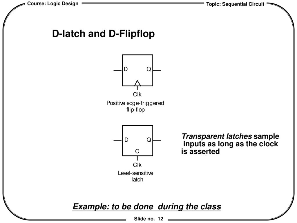 Chapter 6 Sequential Logic Design Ppt Download D Latch Diagram 12 And Flipflop