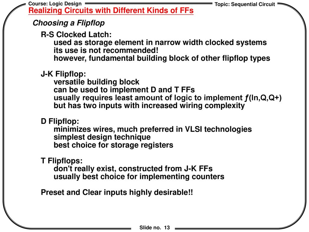Chapter 6 Sequential Logic Design Ppt Download Different Kinds Of Circuit Realizing Circuits With Ffs