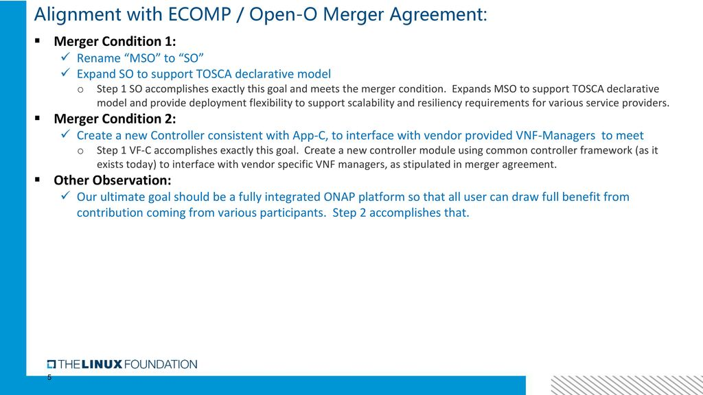 Aligning Orchestration And Controller Per Merger Agreement Vimal