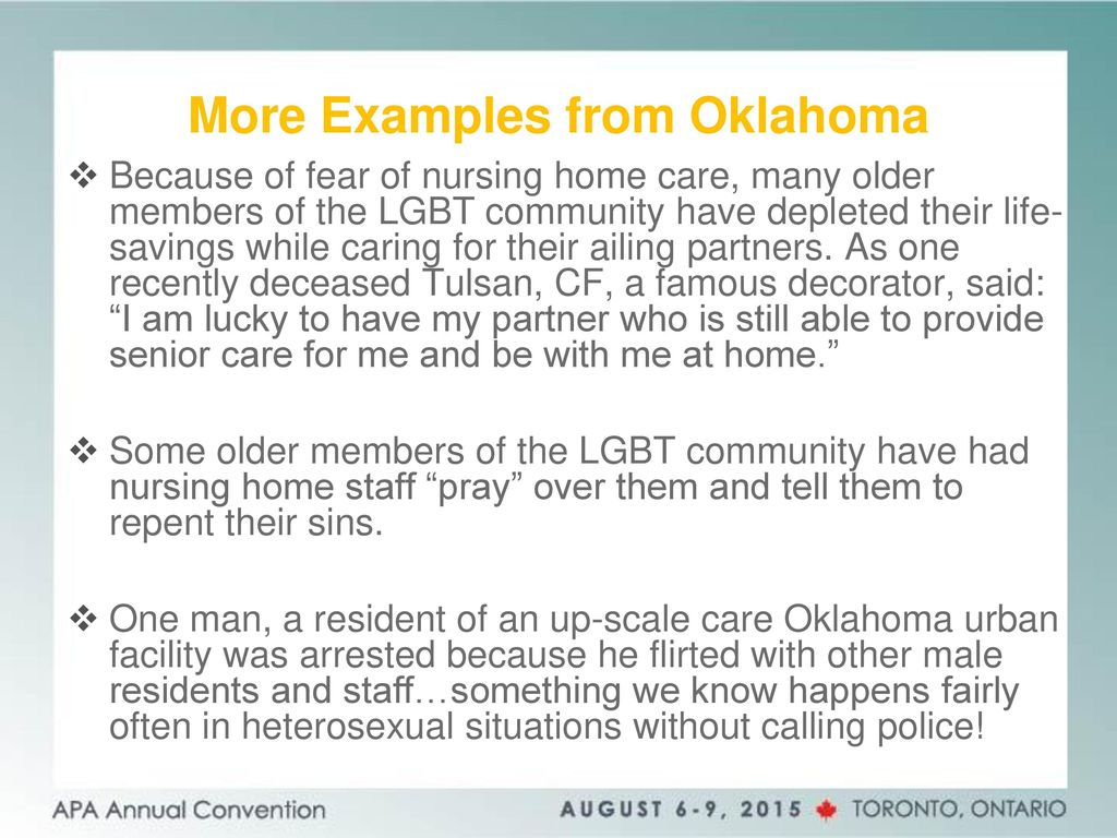 Experiences of Oklahoma LGBT Older Adults: Intersections