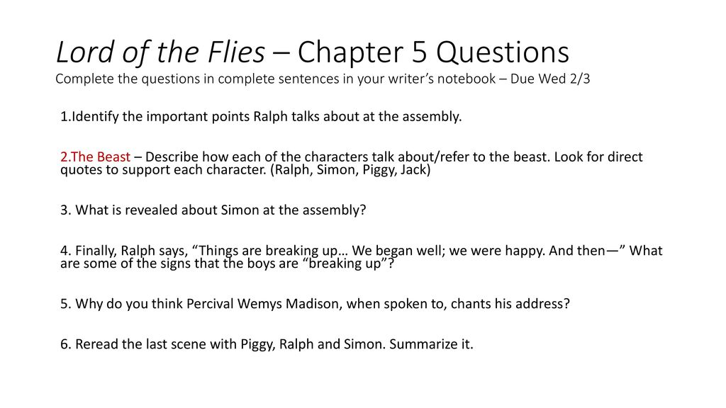 Lord Of The Flies Chapter 5 Questions Complete The Questions In