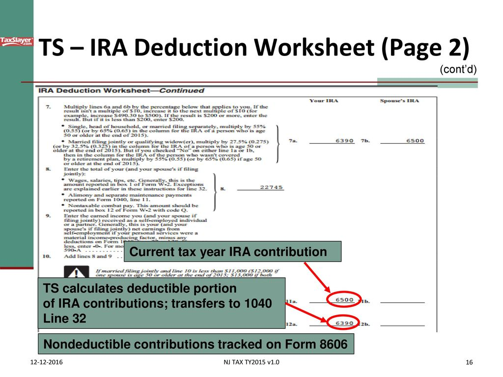 Worksheets Ira Deduction Worksheet pub 17 chapter 4012 tab e federal 1040 lines 23 37 ppt download ts ira deduction worksheet page 2