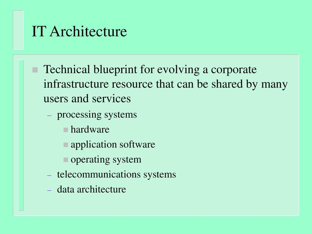 It architecture technical blueprint for evolving a corporate it architecture technical blueprint for evolving a corporate infrastructure resource that can be shared by many malvernweather Choice Image
