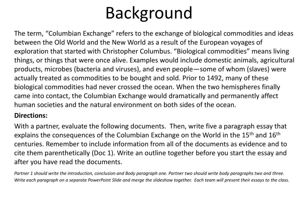 before the columbian exchange