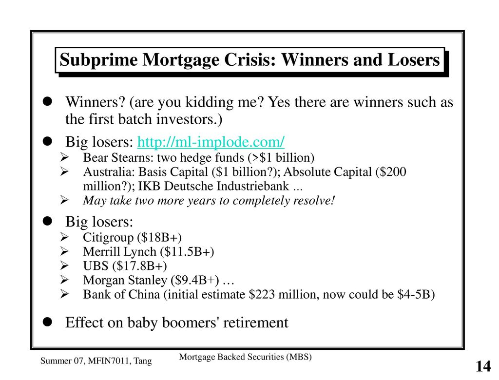 subprime mortgage crisis effects