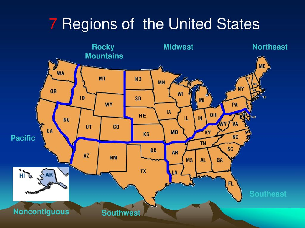 7 Regions Of The United States Map.The United States Ppt Download