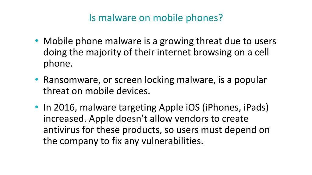 Is malware on mobile phones